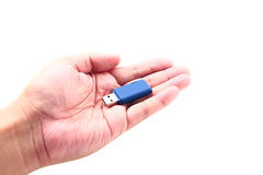 举行USB数据存储的手 免版税库存照片