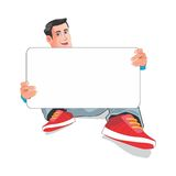 举行whiteboard动画片的人 库存照片