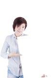 举行whiteboard的亚裔妇女 图库摄影