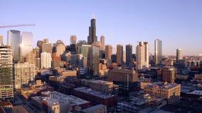 举起面对的鸟瞰图街市芝加哥伊利诺伊 股票录像