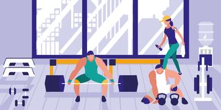 举重的区域在体育健身房 库存例证