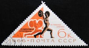 举重者,国际重量级的竞争,大约1966年 免版税库存照片