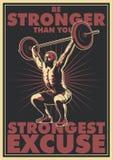 举重运动员、杠铃和诱导词海报 库存例证