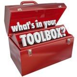 什么在您的工具箱红色金属工具箱技能经验 免版税库存图片