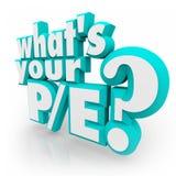 什么是您的P/E问题3d词高变动率价值 免版税库存图片