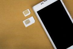 什么是sim卡片的类型在您的机动性可能使用 免版税库存照片