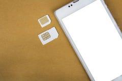 什么是sim卡片的类型在您的机动性可能使用 免版税图库摄影