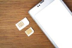 什么是sim卡片的类型在您的机动性可能使用 库存照片