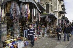 义卖市场街道在耶路撒冷 图库摄影