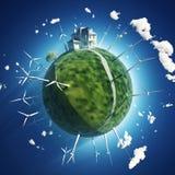 之家和在绿色行星的风轮机 库存例证