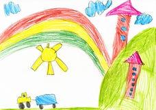 之家在村庄 childs画 免版税库存照片