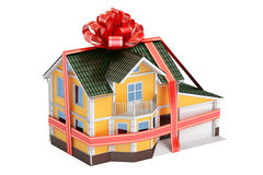 之家礼品 与丝带和弓, 3D的豪宅翻译 向量例证