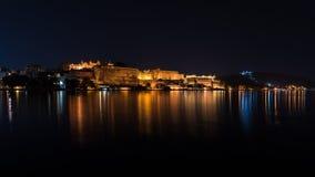 乌代浦都市风景在夜之前 在湖Pichola,旅行目的地的庄严城市宫殿反射的光在拉贾斯坦,印度 库存照片
