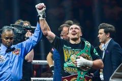 乌克兰专业拳击手Oleksandr Usyk胜利战斗 免版税库存照片
