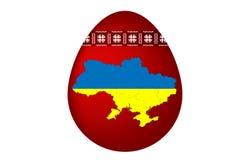 乌克兰人与乌克兰装饰品和地图乌克兰的复活节彩蛋 图库摄影