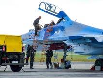 乌克兰人在拉多姆飞行表演期间的苏霍伊Su27航空器 免版税库存图片