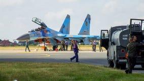 乌克兰人在拉多姆飞行表演期间的苏霍伊Su27航空器 库存图片