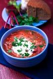 乌克兰传统罗宋汤 在蓝色碗的俄国素食红色汤在红色木背景 罗宋汤,博尔希用甜菜 克洛 免版税库存图片