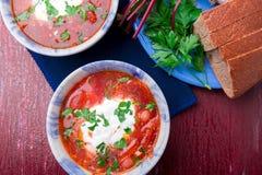 乌克兰传统罗宋汤 在蓝色碗的俄国素食红色汤在红色木背景 罗宋汤,博尔希用甜菜 两 免版税库存图片