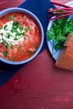 乌克兰传统罗宋汤 在蓝色碗的俄国素食红色汤在红色木背景 罗宋汤,博尔希用甜菜  免版税库存图片
