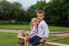 乌克兰传统衣裳的孩子在树篱 库存图片