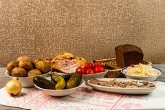 乌克兰全国盘是被烘烤的土豆 在皮肤的被烘烤的整个土豆用德国泡菜、盐味的鲱鱼、用卤汁泡的蕃茄和c 库存照片