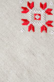 乌克兰刺绣民间样式装饰品 种族纹理设计  由红色和白色螺纹的被绣的元素 免版税图库摄影