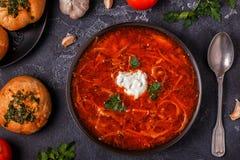 乌克兰和俄国传统红色汤-罗宋汤 免版税图库摄影