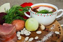 乌克兰和俄国全国红色罗宋汤 免版税库存照片