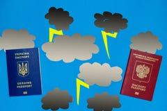 乌克兰和俄国护照、纸云彩和拉链 政治紧张局势的概念在乌克兰和俄罗斯之间的 免版税库存照片