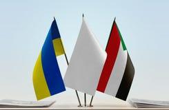 乌克兰和苏丹的旗子 免版税库存图片