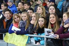 乌克兰国家橄榄球队训练在基辅 库存照片