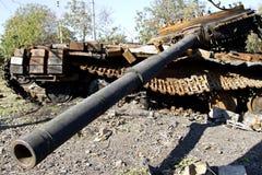 乌克兰坦克在村庄Stepanivka被摧毁了 库存照片