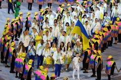 乌克兰奥林匹克队前进了入里约2016奥林匹克开幕式在马拉卡纳体育场在里约热内卢 免版税库存照片