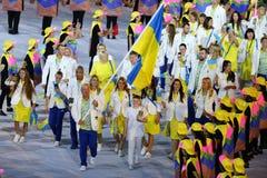 乌克兰奥林匹克队前进了入里约2016奥林匹克开幕式在马拉卡纳体育场在里约热内卢 图库摄影