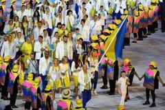 乌克兰奥林匹克队前进了入里约2016奥林匹克开幕式在马拉卡纳体育场在里约热内卢 免版税图库摄影