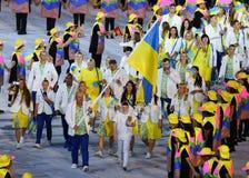 乌克兰奥林匹克队前进了入里约2016奥林匹克开幕式在马拉卡纳体育场在里约热内卢 库存图片