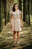 乌克兰女孩在森林里 免版税库存图片