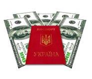 乌克兰护照和有些美国美元 免版税图库摄影