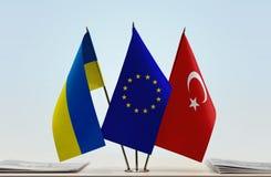 乌克兰欧盟和土耳其的旗子 库存图片