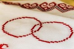 乌克兰毛巾绣与十字架 库存图片
