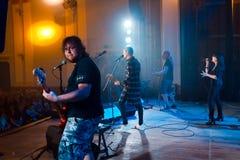 乌克兰流行音乐小组Skryabin和Yevhen Halych, Andriy Kuzmenko进贡音乐会,文尼察,乌克兰, 10 06 2016年,社论照片 图库摄影
