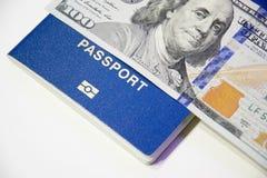 乌克兰生物统计的护照和一一百美元 免版税库存图片