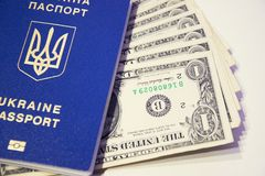 乌克兰生物统计的护照被命名以一美元 免版税库存图片