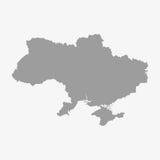 乌克兰的地图灰色的在白色背景 向量例证