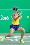 乌克兰的网球员Elina Svitolina行动的在期间其次选拔里约2016年奥运会的回合比赛 免版税库存照片
