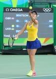 乌克兰的网球员Elina Svitolina行动的在期间其次选拔里约2016年奥运会的回合比赛 免版税库存图片