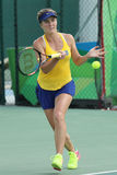 乌克兰的网球员Elina Svitolina行动的在期间其次选拔里约2016年奥运会的回合比赛 库存照片