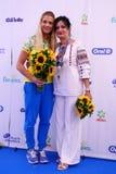 乌克兰的里约2016奥林匹克妇女` s马刀单独青铜色奖章获得者奥尔加Kharlan有她的母亲的 库存照片