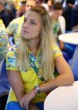 乌克兰的里约2016年奥运会妇女` s马刀单独青铜色奖章获得者奥尔加Kharlan 免版税图库摄影